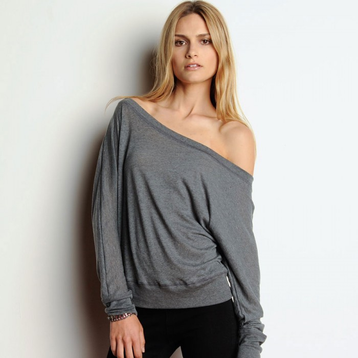 Bella Canvas Flowy Off The Shoulder Long Sleeve T Shirt