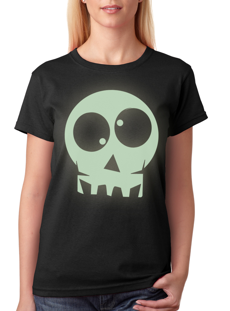 Women S Halloween Glow In The Dark Skull T Shirt Reverb Clothing