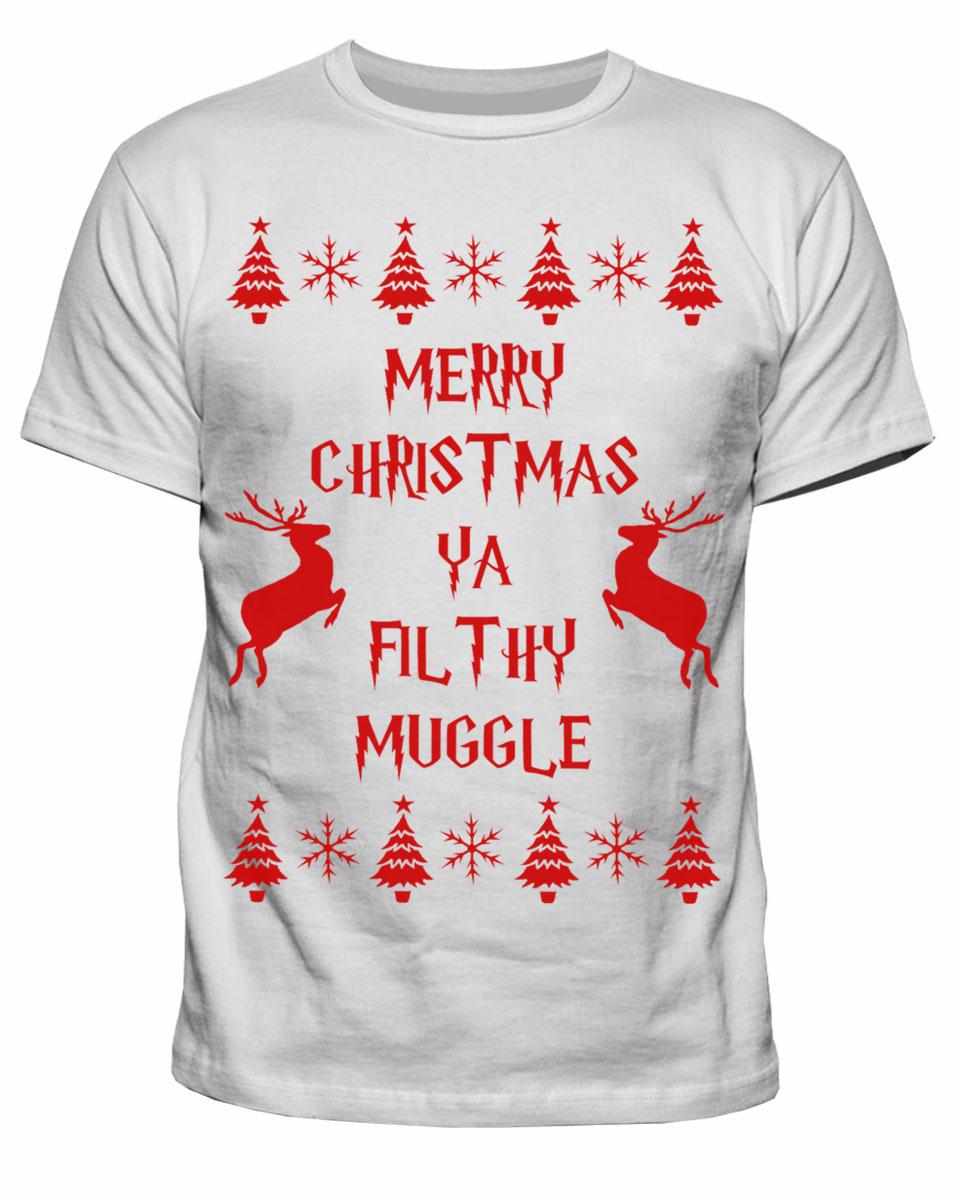 Harry Potter Christmas Shirt.Mens Harry Potter Merry Xmas Ya Filthy Muggle Christmas T Shirt S Xxl