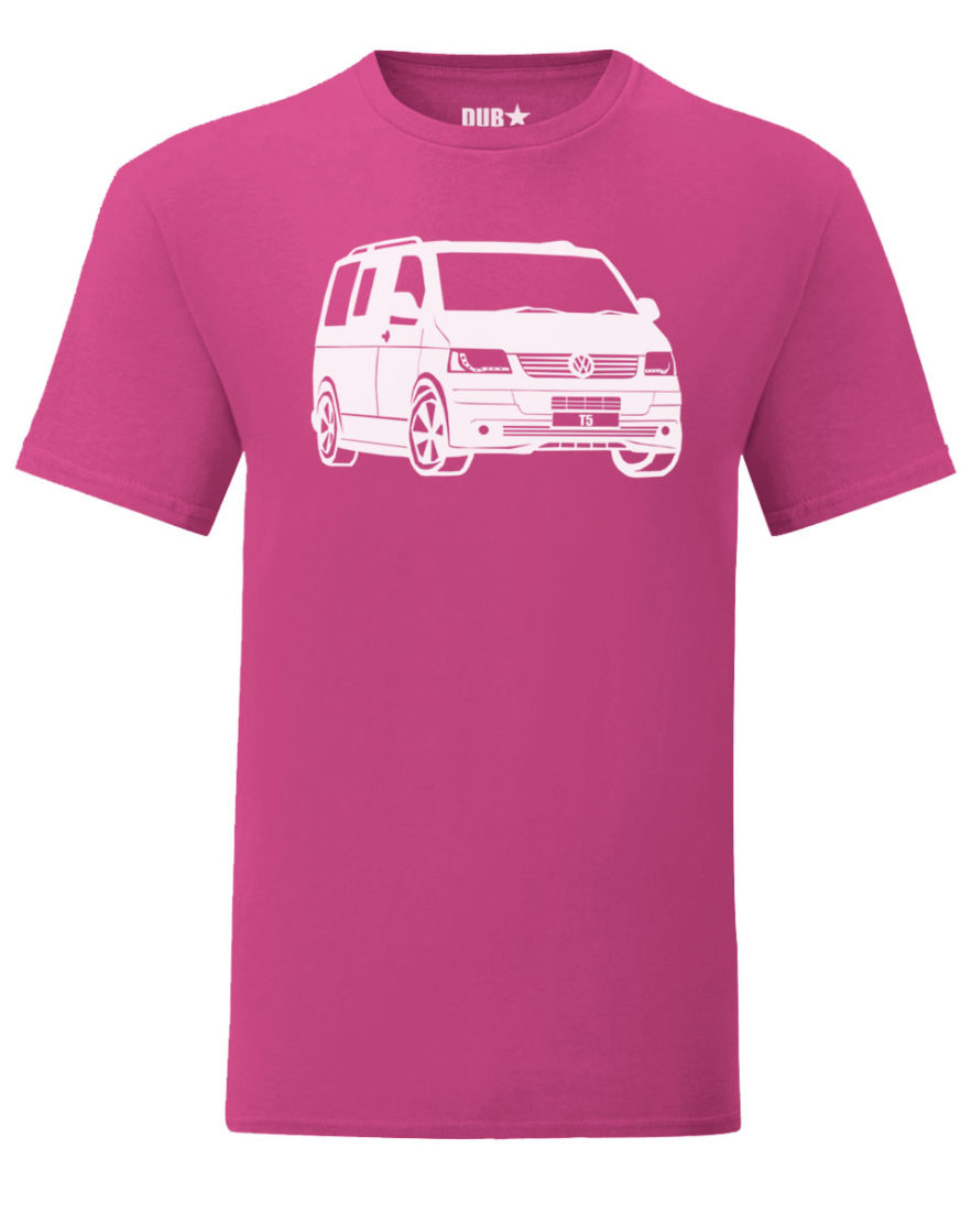 vw t5 tee - heliconia pink