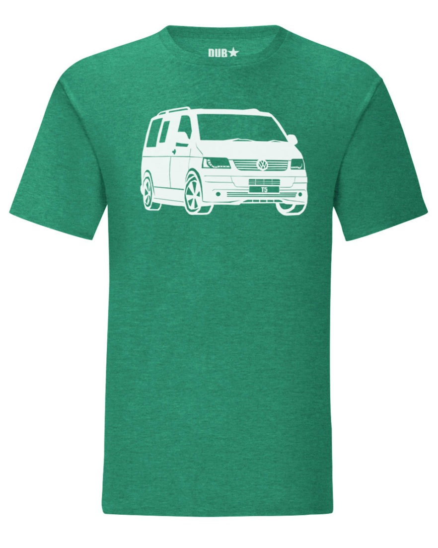 vw t5 tee - heather green